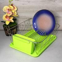 Зелёная сушилка для посуды Kamille 37*33*13,5см с поддоном