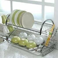 Белая сушилка для посуды Kamille двухъярусная 55х24,5х36см из хромированной стали