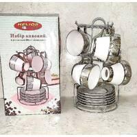 """Набор кавовий з позолотою HLS """"Вінтаж"""" з 6 чашок і блюдець 80 мл (3447)"""