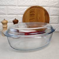 Скляний овальний качатник з кришкою на 4 л Pyrex, скляну каструлю в духовку