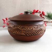 Жаровня резная из красной глины 2 л, украинская керамика