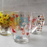 Скляні кухлі і чашки з деколью, кольорові