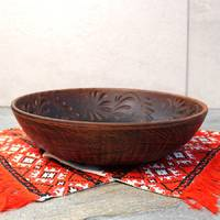 Тарілка глибока для вареників з червоної глини 26 см, український виробник