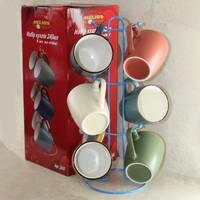 Чайний керамічний сервіз на стойці c різноколірними чашками HLS 6шт*240 мл (2840)