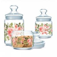Набор банок для сыпучих продуктов с розовыми пионами 3 предмета Luminarc Jar Lupin (P2312)