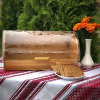 Бамбуковий відкидний хлібник з напівпрозорою кришкою