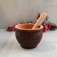 Ступка керамічна з червоної глини з дерев'яним товкачиком, українська кераміка