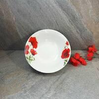 Салатница круглая фарфоровая с красными маками 800 мл (4332)