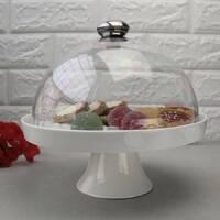 Блюдо-тортовница на ножке с крышкой-куполом HLS Extra white 21 см (W185)