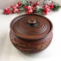Колбасник с крышкой керамический из красной глины 1,5 л резной, украинская керамика