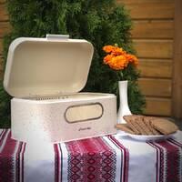 Хлібник з нержавіючої сталі мармур бежевий Kamille 30*19.5*14 см