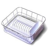 Белая сушилка для посуды Kamille 37*33*13,5см с поддоном