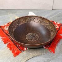 Макітра мала з різанням з червоної глини 25 см 1.4л, український виробник