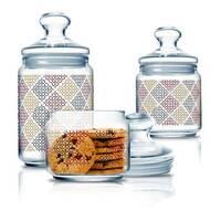 Набор стеклянных банок в мелкий ромбик Luminarc Jar Pot Club Alto Rubis 3 шт 0,5+0,75+1 л (p2043)