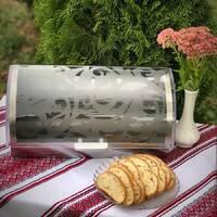 Хлібник відкидний 39 см з нержавіючої сталі з прозорою кришкою
