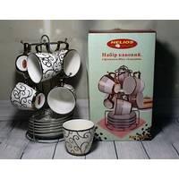 Сервіз фарфоровий кавовий з позолотою HLS з 6 чашок і блюдець 80 мл (3447)