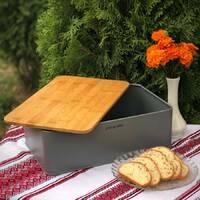 Хлебница компактная серая Kamille с бамбуковой разделочной доской 33*21*12 см