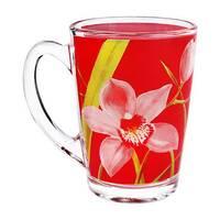 Стеклянные кружки и чашки с деколью, цветные