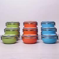 Ланч бокс обеденный тройной 2.1 л (цвета mix) Kamille