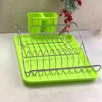 Зеленая сушилка для посуды Kamille 52х32х13см с поддоном