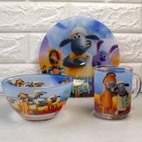 Набор детской посуды 3 предмета с мульт-героями Барашек Шон