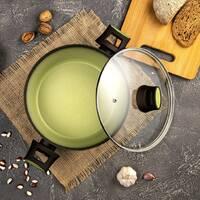 Каструля із скляною кришкою 3.5л Ardesto Avocado для усіх видів плит, посуд для індукції