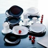 Столовий сервіз чорно-білий з квадратними тарілками Luminarc Carine Black/White 30 предметів (N1500)