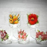 Кухоль скляний з кольорами ОСЗ квіти 200 мл (8100)