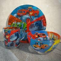Набор детской стеклянной посуды 3 предмета с мульт-героями Вспыш, Набор детской посуды, разноцветный