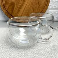 Набор широких чашек с двойным дном 300 мл 2 шт Ardesto (AR2630GH), чашки с двойными стенками