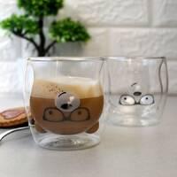 Набор чайных стаканов с двойными стенками с мишками 250 мл 2 шт Ardesto (AR2625GAS), стаканы с двойным дном