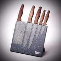 Набор мраморных ножей 6 предметов на магнитной мраморной стойке Kamille