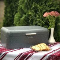 Хлібник з нержавіючої сталі сірий мармур 42*23.5*16.5 см