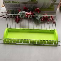 Одноярусная сушилка для посуды зеленая Kamille 41,5*26*11,5 см с поддоном