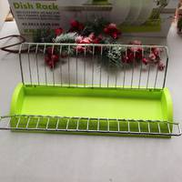 Одноярусна сушарка для посуду зелена Kamille 41,5*26*11,5 см з піддоном