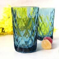 """Набор синих винтажных стаканов в ромб """"Сапфир"""" 6 шт 350 мл (6401)"""