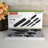 Набор чёрных кухонных ножей Kamille на магнитной планке 4 предмета (3 ножа+держатель)