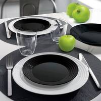 Сервіз столовий чорно-білий Luminarc Harena Black/White 18 предметів (N1518)