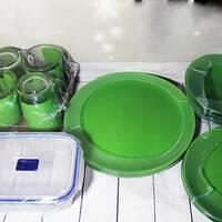 Столовий зелений скляний сервіз Luminarc Simply Bold 16 предметів   контейнер (P9194)