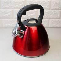 Чайник червоний 3 л з нержавіючої сталі зі свистком і чорною бакелітовою ручкою для індукції
