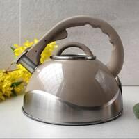 Чайник для індукції 3л з нержавіючої сталі зі свистком і скляною кришкою Kamille