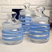 Набор стеклянных банок с голубым декором Luminarc Spiral 3 шт (Q0394)