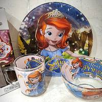 Набор детской стеклянной посуды  для девочек 3 предмета с Принцесса София (A9551/2)