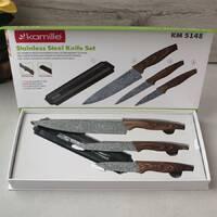 Набор серых кухонных ножей на магнитной планке Kamille на 4 предмета (3 ножа+держатель)