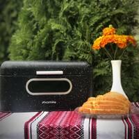Хлібник з нержавіючої сталі мармур чорний Kamille 30*19.5*14 см