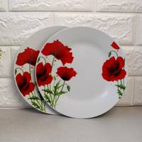 """Тарелка круглая десертная с красными маками 18 см 7""""  (4333)"""