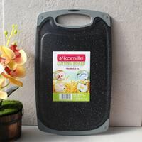 Пластикова обробна нековзна дошка з жиростоком Чорний мармур 40*24*0.8 см