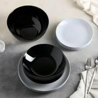 Столовий сервіз сіро-чорний Luminarc Diwali Black&Granit 19 предметів (P4358)