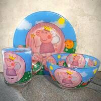 Набор детской стеклянной посуды 3 предмета с мульт-героями Свинка Пеппа, Набор детской посуды, разноцветный