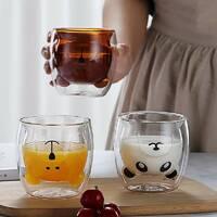 Набор чайных стаканов с двойными стенками с мишками 250 мл 2 шт Ardesto (AR2630GAS), стаканы с двойным дном